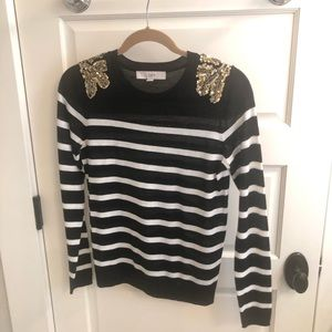 Ann Taylor Loft stripped embellished sweater